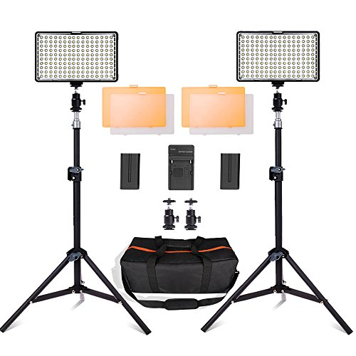 SAMTIAN 160 LED Video Light Kit with 29 Inch Tripod,3200/5500K Photo Light Panel Stand Set for YouTube Studio Photography Shooting, Including Batteries[Runtime 90 Minutes],Charger,Carry Case