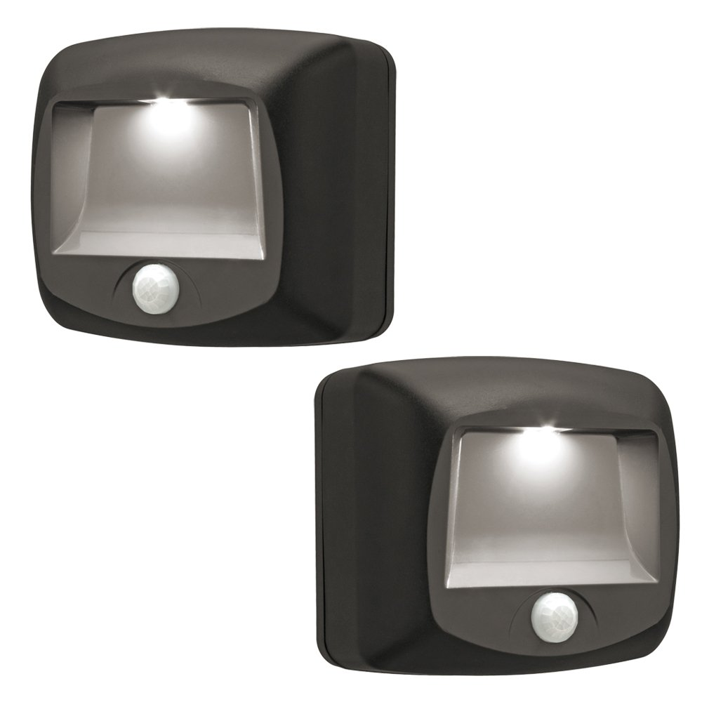 mr beams mb522 wireless battery operated indooroutdoor motion sensing led stepstair light 2 pack brown solar powered motion sensor step lights automatic led stair lighting