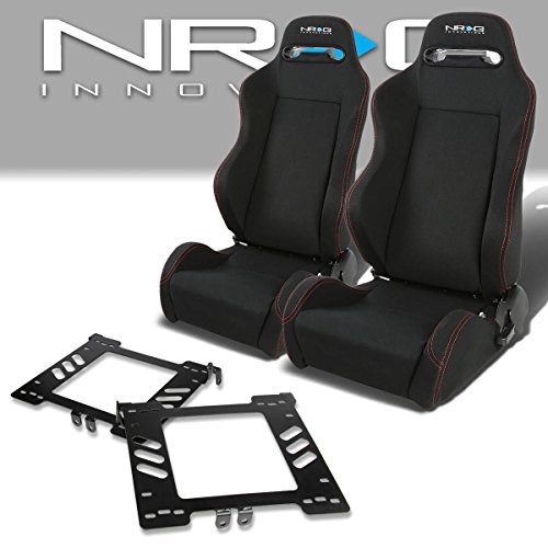 Pair of RSTRLGBK Racing Seats+Mounting Bracket for Volkswagen Golf/Jetta/Beetle Mk4