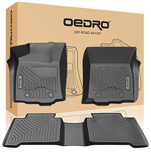(oEdRo Floor Mats Compatible for 2016-2017 Toyota Tacoma Double Cab - Automatic, Unique Black TPE All-Weather Guard Includes 1st and 2nd Row: Front, Rear, Full Set Liners)