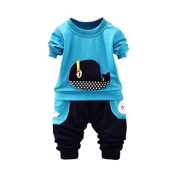 POLP Niño Conjunto Niños Bebé,Ballena de Dibujos Animados Camiseta Manga  Corta para Camiseta Verano 58c3988dada7a