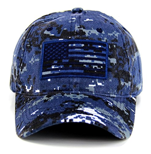 Pit Bull US Flag Patch Tactical Style Cotton Trucker Baseball Cap Hat Blue Camo (Cap Pit Blue)