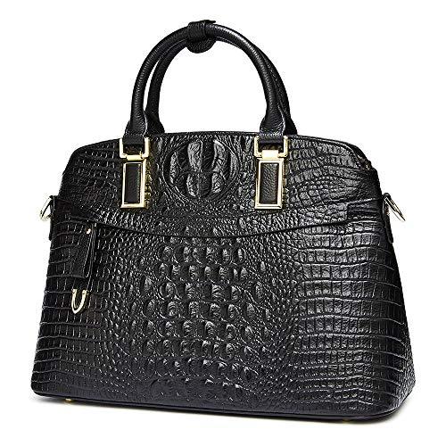 Genuine Crocodile Bag - Women Genuine Leather Top-handle Handbags【Full-grain Cowhide】Embossed Crocodile Satchels Shoulder Bags