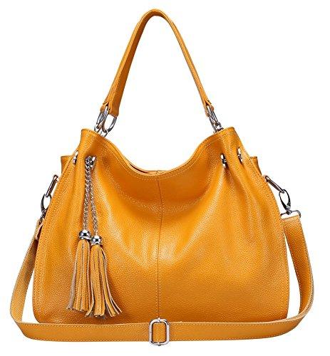 Size Women Fringe Crossbody Crossbody For Women Bags Stylish Medium For Genuine Leather Hobo Yellow bags HqIO55wd