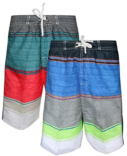 Quad Seven Boys' Striped Swim Trunks (2 Pack), Black Blue/Grey Red, Size 16-18' (Polyester 18' Long)