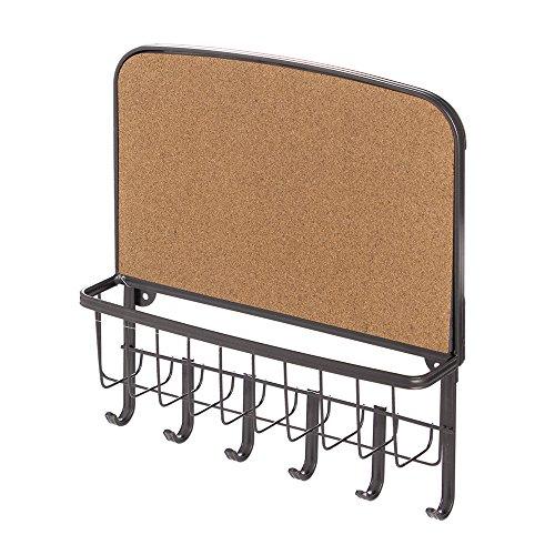 (InterDesign York Lyra Cork Board, Mail Holder and Key Rack Organizer - Wall Mounted Letter Shelf and Key Hooks, Bronze)