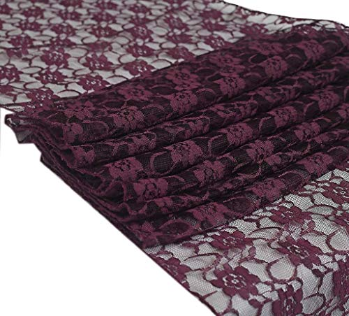 mds Pack of 10 Wedding 12 x 108 inch Lace Table Runner for Wedding Banquet Decor Table Lace Runner- Plum