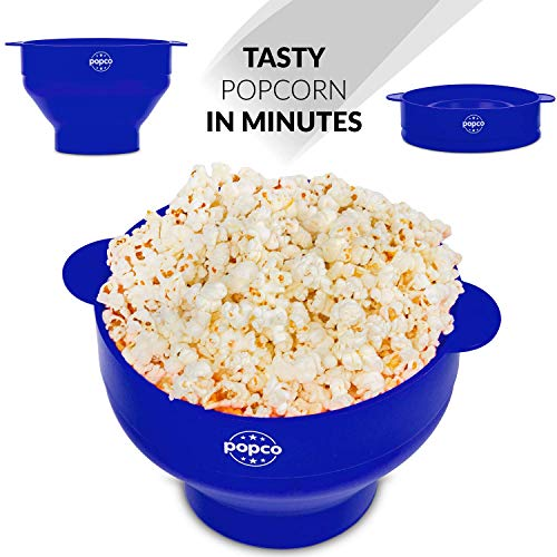 Non-Toxic BPA Free Dark Blue Collapsible Bowl Dishwasher Safe The Silicone Kitchen Silicone Microwave Popcorn Maker