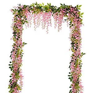Gatton Wisteria Garland, 4 Pcs Total 28.8ft Artificial Wisteria Vine Silk Hanging Flower for Home Garden Outdoor Ceremony ding Arch Floral Decor (Pink) | Model WDDNG - 826 | 74