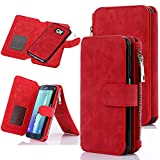 Galaxy S6 Edge Plus Case, CaseUp 12 Card Slot Series - [Zipper Cash Storage] Premium Flip PU Leather Wallet Case Cover With Detachable Magnetic Hard Case For Samsung Galaxy S6 Edge+ Plus, Red