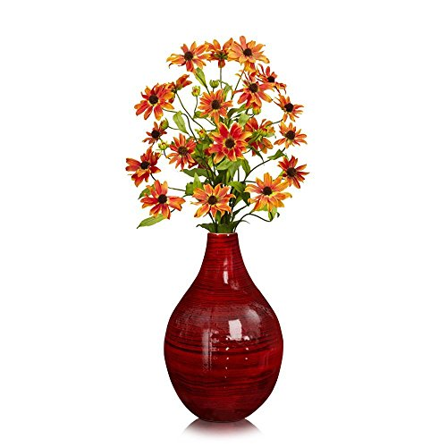 Bamboo Vase Centerpiece - Red Glossy Finish, Wood Grain Design, 9.75