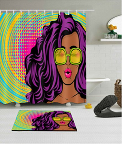 Chic African Afro Black Girl Decorative Shower Curtain for Bathroom by Chengsan, Sexy African American Woman in Glasses Mold Free Water Repellant Odorless - Girl With Glasses Black