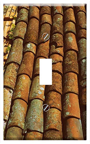 Switch Plate Single Toggle - Tiles Roof Slate Clay Terracotta Roofing Texture