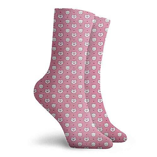 Cat Novelty Socks for Men and Women Light Cushion Athletic Socks Pink White (Pink Sock Monkey Lovey)