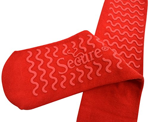Secure (4 Pairs) Ultra Soft Non Slip Grip Slipper Socks, Red - Fall Injury Prevention Hospital Tread Sock for Safety, Comfort and Warmth by Secure (Image #4)