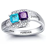 Diamondido Personalized Simulated Birthstone Rings for Couple Custom Engraved Names Promise Lover Rings for Women (7)