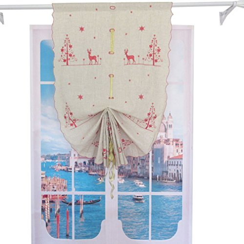 ZHH 32-inch by 68-inch Christmas Red Elk Embroidered Linen Balloon Shades Tie-Up Home Decor Window Curtain