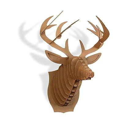 Paper Maker Cardboard 3D Deer Head Wall Decoration Art Animal Hanging Decor