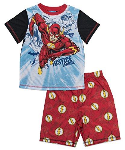DC Comics Big Boys' Justice League Flash 2-Piece Pajama Short Set, Redblk, (Boys Pjs)