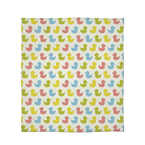 - TecBillion Comfort Blanket,Rubber Duck,for Sofa Travel Couch,Size Throw/Twin/Queen/King,Colorful Ducklings Baby Animals Theme Pastel Girls