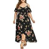 OYSOHE Plus Size Women Casual Short Sleeve Cold Shoulder Boho Flower Print Long Dress