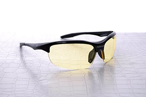 NoScope Wraith Yellow Lens Video Gaming Computer Glasses for Xbox 360, Sony Playstation 3 / 4, PC, Nintendo Wii U (Onyx Black)