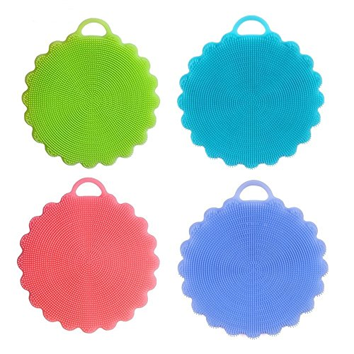 Kichwit Silicone Dish Scrubbers Antibacterial Sponges BPA Free - Dish Scrubber Antibacterial