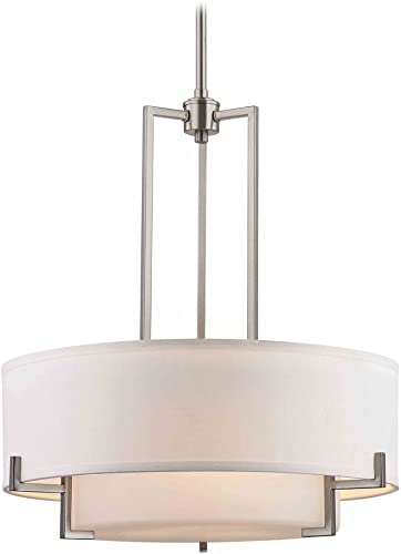 Modern Drum Pendant Light with White Glass in Satin Nickel Finish