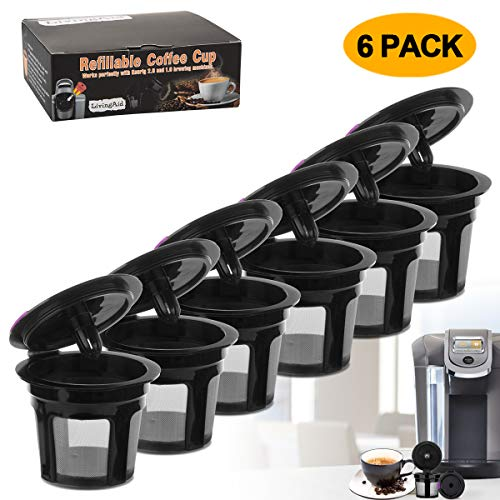 Reusable K CUP, LivingAid Reusable K CUPS 2.0 Coffee Filter Coffee Stainless Mesh Solo Filter Replacement for Keurig Brewers 1.0 or 2.0 Machine BPA Free (Black) (6 Packs) by LivingAid