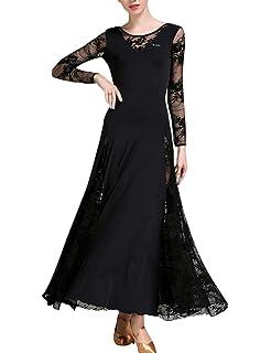 36ddecbf40707a Zhhlaixing Modern Walzer Tango Tanzkleider - Spitzennähte Rückenfrei  Standard Tanzen Maxikleid für Frauen