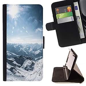 For Samsung Galaxy S6 EDGE (NOT S6) Plus / S6 Edge+ G928 Case , Naturaleza Snowy Mountain- la tarjeta de Crédito Slots PU Funda de cuero Monedero caso cubierta de piel