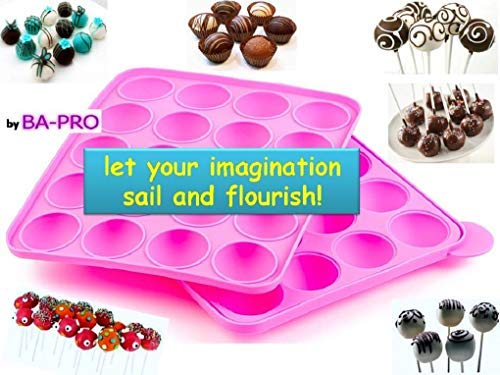 BA-PRO JNXD-119, 20-Cavity Ball Shape Baking Mold, Muffins Cupcakes Cookware Silicone Set, Best for Brownies, Pies, Lollipops, Candies, Jelly and Chocolate, Ice Cream Tray, 228/186/40mm (L/W/H), Pink 9 BAKING EXPERIENCE with ZERO FRUSTRATION It's Humongous: a Multi-Use Cookware of Sturdy yet Flexible Double Tray Cupcake Pan that Will Carry All Baking Endeavors with Embarrassing Ease and Effortless Comfort. Elegant Shape, Available Here in Our USA Stock