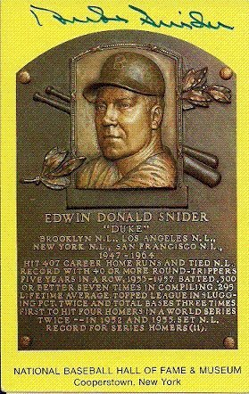 Duke Snider Autographed/Hand Signed Hall Of Fame Gold Plaque