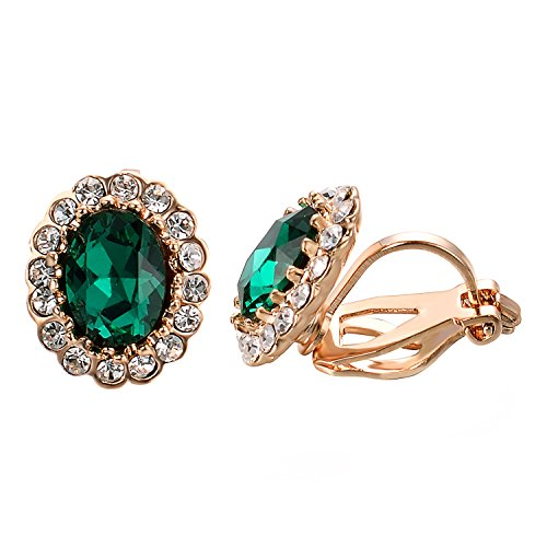 (Yoursfs Emerald Clip On Earrings For Women Circular Halo Green Zircon Crystal clip earrings)
