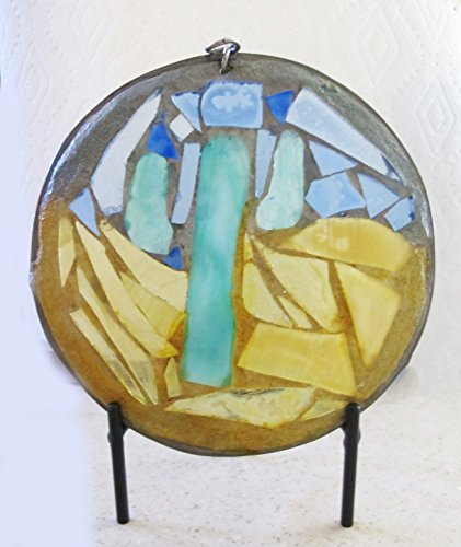 Six Inch Round Mosaic Art Glass Sun Catcher Featuring a (Saguaro Glass)