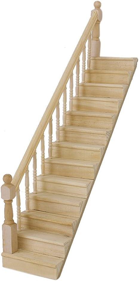 Amazon.es: SODIAL(R) SODIAL(R) 1:12 La escalera madera de casa de juguet con la barandilla izquierda previamente montada de 45 grados declives: Juguetes y juegos
