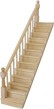 SODIAL(R) 1:12 La escalera madera de casa de juguet ... - Amazon.es