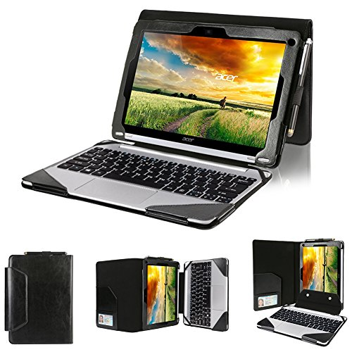 BIRUGEAR Acer Aspire Switch 10 SW5-012 Case, 2-in-1 Leather Keyboard Portfolio Stand Case Cover for Acer Aspire Switch 10 SW5 (SW5-012) 10.1-Inch Laptop Tablet PC - Black + Screen Protector, Micro USB & HDMI Cable