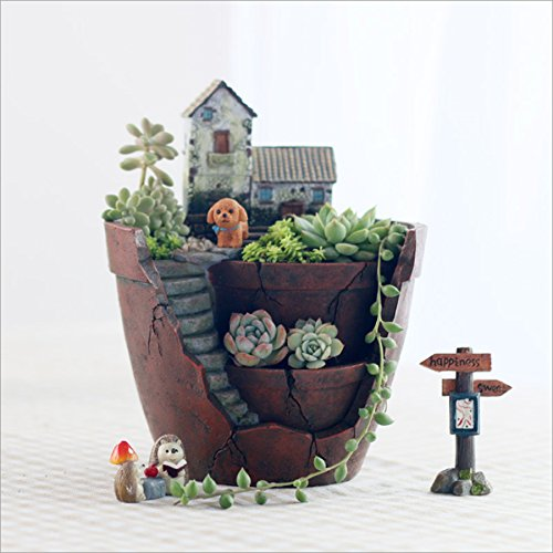 Perfect Micro Landscape Artificial Flowers Creative Succulent Plants Pot Container  With Hanging Garden Design And Sweet House
