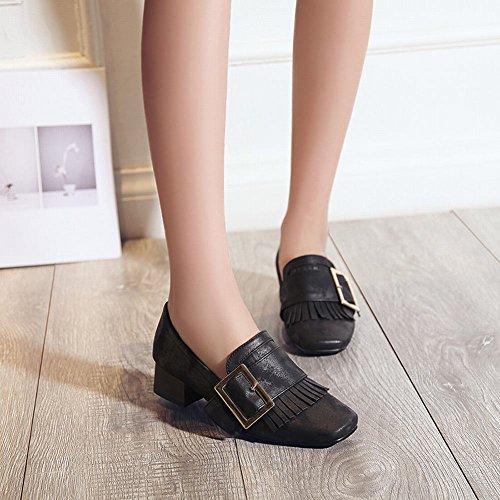 Mee Shoes Damen Blockabsatz Quasten slip on Pumps Schwarz