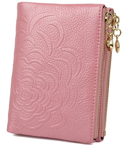 Pink Embossed Leather (YALUXE Women's Double Zipper Flower Embossed Compact Small Leather Wallet Pink)