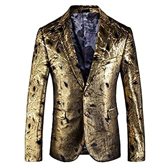 Mens Blazer Dress Gold Floral Suit Notched Lapel Slim Fit 2 Button Stylish Blazers Prom Dinner Jacket