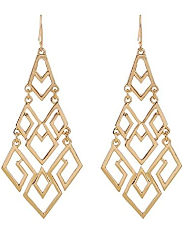 b6d3d6744 D EXCEED Women's Chandelier Drop Earrings Gift Wrapped Fashion Gold Cutout  Tiered Dangle Drop Earrings