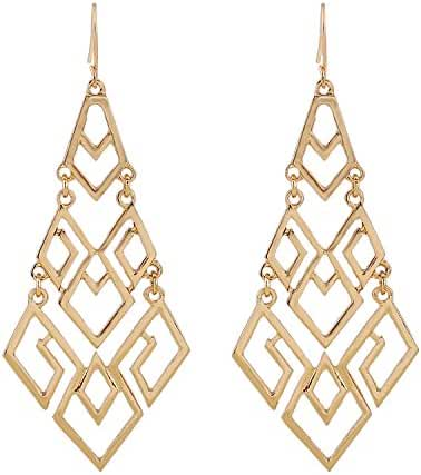 D EXCEED Women's Gold Cutout Diamond Chandelier Tiered Dangle Earrings, 3.15