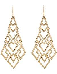 """Women's Gift Idea Fashion Gold Cutout Diamond Chandelier Tiered Dangle Earrings, 3.15"""""""
