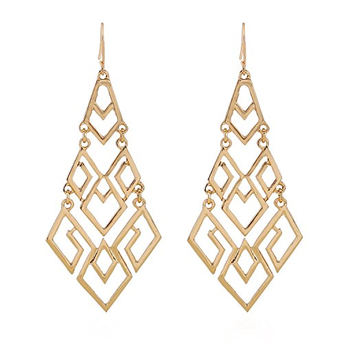 D EXCEED Women's Chandelier Drop Earrings Gift Wrapped Fashion Gold Cutout Tiered Dangle Drop Earrings Gold