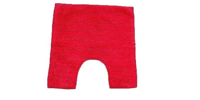 Avira Home Lisa Stripes 100% Cotton Toilet Mat, 1100 GSM, (Red)