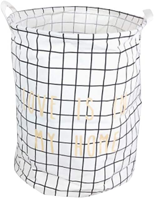 Round Folding Laundry Basket Organizer-with Durable Handle CONSTR Small Fresh Style Storage Basket Toy Clothes Cover Large Capacity Holder,Dirty Clothes Storage Bucket Container for Home Bedroom Bathroom Animal Forest M