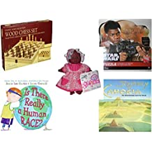 Children's Fun & Educational Gift Bundle - Ages 6-12 [5 Piece] - Classic Wood Folding Chess Set Game - Star Wars The Force Awakens Finn 1000 Piece Puzzle - Gigo Toy Dream Collection African America