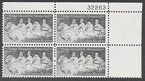 US 1970 Stone Mountain Memorial #1408 Plate Block of Four - Plate Memorial Block